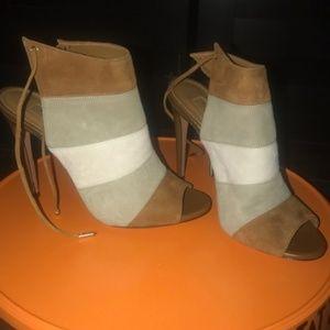 Aquazzura Suede Peep Toe Sandals - NWOT